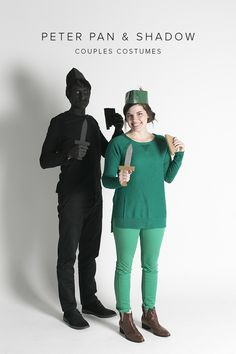 Need a last minute couples costume? Check out this Peter Pan & his Shadow costume. Quick, cute, and easy!