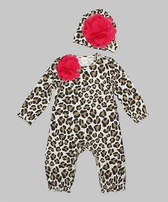 Brown & Fuchsia Leopard Playsuit & Floral Beanie - Infant | zulily
