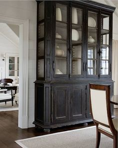 would look great in dining area at end of long living rm Love this.refinished a similar antique hutch/china cabinet a decade ago but in dark hunter green and it turned out great. Furniture, House, Interior, Painted Furniture, Home Remodeling, Cheap Home Decor, Distressed Furniture, Furniture Inspiration, Black Furniture