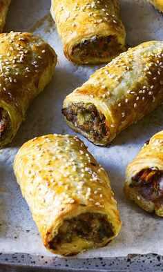 Leave out the meat, use vegan puff pastry.We used to say there was very little redeeming in a sausage roll. But Tom Kerridge has changed all that in his Fresh Start programme. Veggie Recipes, Vegetarian Recipes, Cooking Recipes, Healthy Recipes, Healthy Sausage Rolls, Sausage Rolls Puff Pastry, Tom Kerridge, Savory Pastry, Pasta