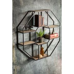 Vagabond Vintage Iron and Wood Hexagonal Shelf
