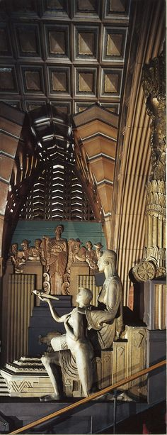 Interior of Pantages Theatre, lobby, view of two statues on the side of the east stairwell