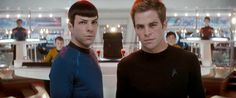 Zachary Quinto as Spock and Chris Pine as Kirk in 'Star Trek' - Snap Stills/Rex Features