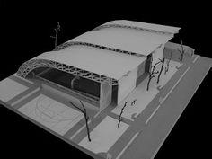 R2N Arquitetura e Urbanismo: Cobertura para Quadra Poliesportiva - São Paulo 2007 Concept Models Architecture, Architecture Tools, Factory Architecture, Bamboo Architecture, Architecture Portfolio, Futuristic Architecture, Architecture Details, Interior Architecture, Membrane Structure