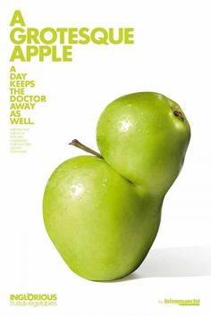 Intermarché, inglorious fruits & vegetables : A grotesque apple. AGAINST FOOD WASTE