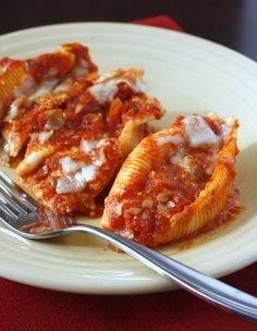 Three Cheese Stuffed Shells - easy to make, three different types of cheese, and freezer friendly!