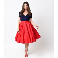 Hell Bunny 1950s Style Red High Waist Paula Swing Skirt ($52) ❤ liked on Polyvore featuring skirts, red, high-waist skirt, flippy skirt, red knee length skirt, swing skirt and red high waisted skirt