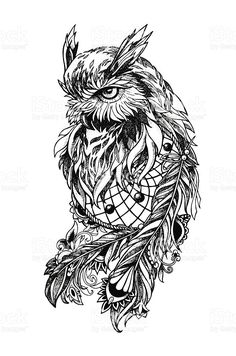 Artistic owl with Dreamcatcher. Graphic arts, dotwork royalty-free stock vector art