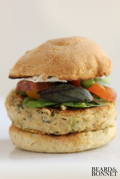 Savory White Bean Burger with Cumin Cashew Cream [Beard & Bonnet]