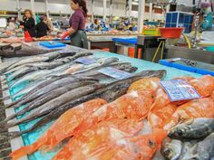 """Mercado Livramento in Setúbla one of the """"Famous fish markets around the world"""" according to USA Today 15.06.2015   An assortment of local seafood is laid out at Mercado Livramento."""