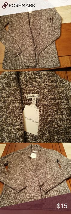 NWT?? Croft & Barrow Open Cardigan With classic styling this Gray marbled open cardigan would be great for cool spring evenings as well fall evenings around the fire or even in the office. Ribbing in front around neck and at base of sweater as well as the cuffs. 59%cotton, 39%acrylic,2%other fiber. croft & barrow Sweaters Cardigans