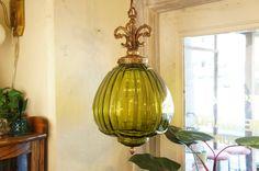 アンティーク グリーンガラス ペンダントランプ - アンティーク家具の通販・リペア修理-神戸 | HOMEWARD ホームワード