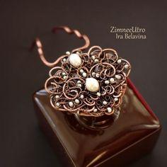 """Wire wrapped hair pin / Купить Шпилька для волос """"Жемчужный цветок"""" :: Жемчуг, медь - коричневый, медь, медное украшение"""