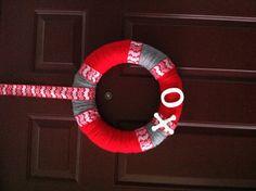 Valentine's Day yarn wreath