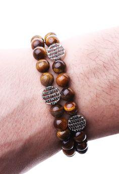 Kaplangözü Zirkon Motifli Doğal Taş Erkek Bileklik BLK1137 - Men Bracelet