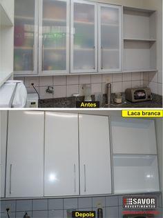 Revestimento adesivo que imita laca branca brilhante. www.savor.com.br