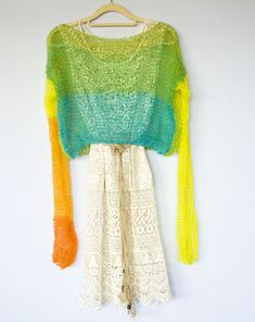 Rainbow Colors Purple Red Orange Blue by myAqua Chunky Knit Holey Sweater Boho Mesh Top See Through Sweater Long Sleeve Sheer Jumper