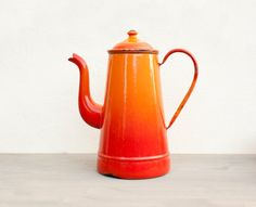 Red Orange ombre antique Enamelware Coffee Pot - Vintage Home Decor - French Country style on Etsy, $35.15