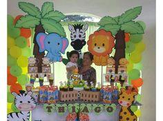 Cumple HD 2 Safari Theme Birthday, Zoo Birthday, Animal Birthday, Jungle Party, Safari Party, Jungle Theme, Boy Baby Shower Themes, Baby Boy Shower, Birthday Party Decorations