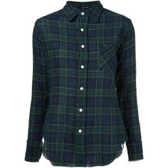 R13 Plaid Shirt (1.025 BRL) ❤ liked on Polyvore featuring tops, shirts, blue, shirt top, blue plaid shirt, wool tops, wool shirt and tartan plaid shirt
