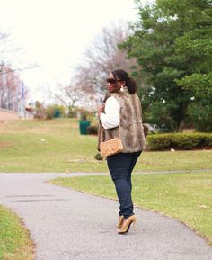 Shapely Chic Sheri - Curvy Fashion and Style Blog: Furry Friend: Fur Vest + Coated Denim