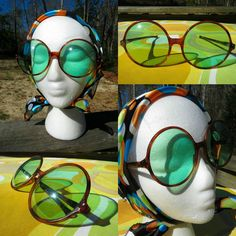 VTG 1960s Groovy Green BIG EYE Round Made In France MOD Girl Retro Sunglasses
