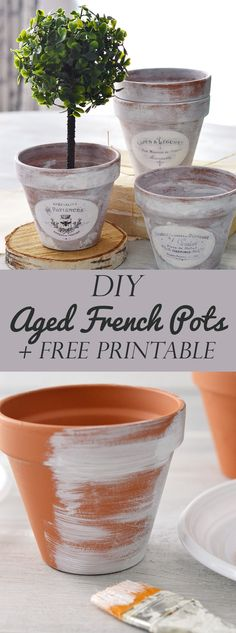 DIY Aged French Pots project free printable! By Diana Dreams Factory for Graphics Fairy. Such a lovely Vintage Style Spring Project that you can make yourself to use in your Home Décor.