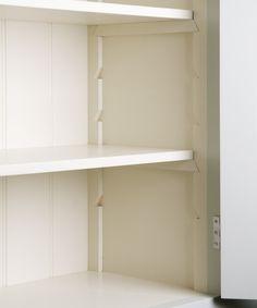Adjustable shelving detail for neater flexible shelving