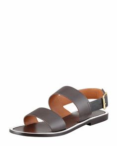 Double Strap Leather Sandal, Ebony by Marni at Neiman Marcus.