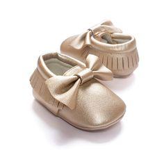 LIVEBOX Infant Baby Girls' Bow Mocassins Soft Sole Anti-Slip Tassels Prewalker Toddler Shoes (S: 0~6 months, Golden)