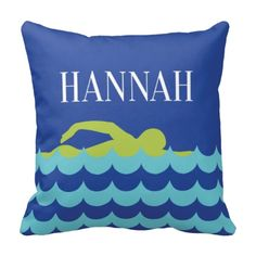 Personalized preppy throw pillow for swimmers. Gift for hight school swim team and coach. Swimmer& bedding and bedroom decor for teenage girls. Birthday Presents For Teens, Teen Presents, Teenage Girl Bedroom Designs, Teenage Girl Bedrooms, Swimming Gear, Girls Swimming, Swim Mom, Teen Decor, Shops