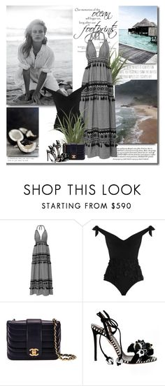 """""""Together we can face any challenges as deep as the ocean and as high as the sky!!"""" by lilly-2711 ❤ liked on Polyvore featuring FOOTPRINTS, Dodo Bar Or, Zimmermann, Chanel, Aquazzura, sandals, beach, summer2017 and onepiceswimmsuit"""
