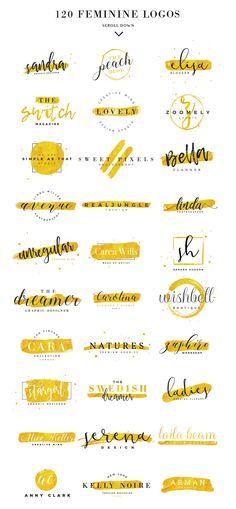 120 Feminine Branding Logos by Davide Bassu on Creative Mark.- 120 Feminine Branding Logos by Davide Bassu on Creative Market 120 Feminine Branding Logos by Davide Bassu on Creative Market - Boutique Logo, Design Graphique, Art Graphique, Logo Inspiration, Logo Branding, Branding Ideas, Photoshop Logo, Photoshop Illustrator, Typographie Logo