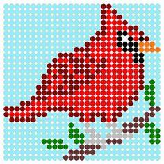 hama beads - red bird pattern