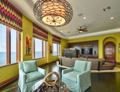 This colorful, sunny home in Tampa was designed by Crespo Design Group. The room space features a custom Italian sofa and bright roman shades in a zig zag fabric from Schumacher. Photography from Fast Pix Room Interior Design, Contemporary Interior Design, Contemporary Furniture, Home Living Room, Living Area, Tampa Homes, Open Concept Home, Italian Sofa, Brick And Wood