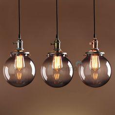 PERMO SMOKY GLASS GLOBE SHADE MODERN VINTAGE INDUSTRI PENDANT LIGHT CEILING LAMP