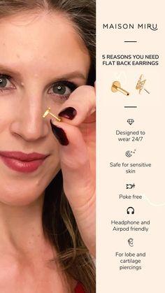 Ear Jewelry, Cute Jewelry, Body Jewelry, Jewelery, Jewelry Accessories, Flat Back Earrings, Pretty Ear Piercings, Things To Buy, Beauty Hacks