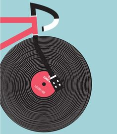 Via An illustration of a vinyl record as a bicycle wheel.