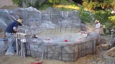 Koi pond construction part 5 - faux/artificial boulders & waterfall rebar/lath Backyard Water Feature, Ponds Backyard, Backyard Waterfalls, Pond Landscaping, Landscaping With Rocks, Pond Construction, Artificial Rocks, Fake Stone, Rock Waterfall