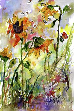 #Watercolor and #ink #Painting #sunflowers and #bees #garden #Provence #Summer #Impressions  #artprints SHOP NOW  http://ginetteprints.com/featured/sunflowers-and-bees-garden-ginette-callaway.html?newartwork=true