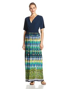 AGB Womens Dolman Sleeve Smocked Printed Maxi Dress MultiBlue 6 * You can find more details by visiting the image link.