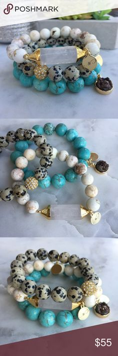Turquoise Hoplite White Quartz Bracelets   □ white quartz bar with white buffalo turquoise  □ dalmatian stone with a 24k gold plated accent bead  □ turquoise hoplite with a brown druzy stone all bracelets are finished with Simple Sanctuary's 18k gold plated logos  △ handmade in El Paso, TX △ Simple Sanctuary Jewelry Bracelets