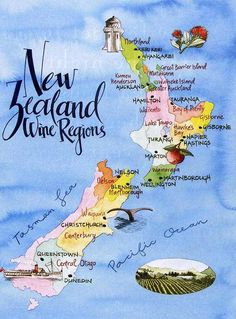 New Zealand wine regions. Wine counts as food, right?!