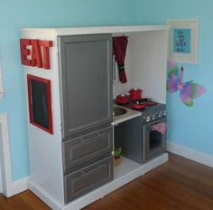 gray and cream play kitchen