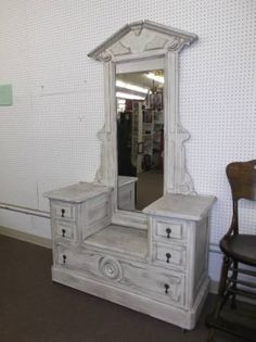 SOLD - This large Victorian vanity has marble tops and a long mirror - painted, distressed, and waxed!***** In Booth D13 at Main Street Antique Mall 7260 E Main St (east of Power RD on MAIN STREET) Mesa Az 85207 **** Open 7 days a week 10:00AM-5:30PM **** Call for more information 480 924 1122 **** We Accept cash, debit, VISA,