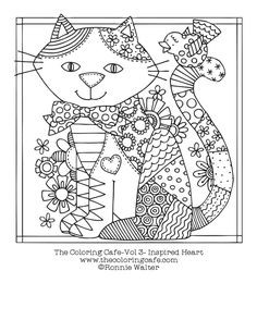 The Coloring Cafe™ Inspired Heart-Coloring Book for Grown-Ups Adult Coloring Book Cat Coloring Page, Colouring Pics, Animal Coloring Pages, Coloring Pages To Print, Coloring Book Pages, Printable Coloring Pages, Coloring Sheets, Coloring Pages For Kids, Zentangle