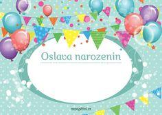 Pozvánka na narozeniny s balónkama - přední strana