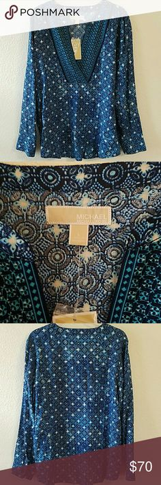 "Michael Kors Blouse Beautiful brand new with tag Michael Kors blouse. Real Navy. 100% viscose. Long sleeves. No damages. 100% authentic. Approx L of blouse 27"". Armpit to armpit approx 24"". MICHAEL Michael Kors Tops"
