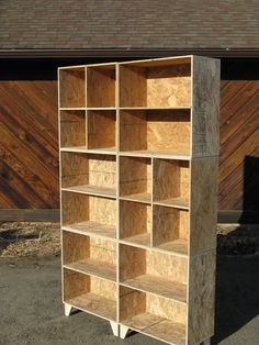 mix and match osb bookcase and cubby 2 wide and 3 tall unfinished. via Etsy. Plywood Furniture, Diy Furniture, Furniture Design, Chipboard Interior, Osb Wood, Mad About The House, Diy Pallet Bed, Modern Rustic Homes, Bookcase Shelves
