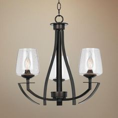 "Perry Collection 20"" Wide Black Iron Chandelier -"
